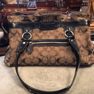 Coach signature satchel bag beige and black